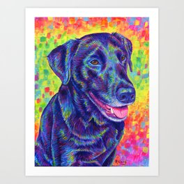Happy Go Lucky - Colorful Black Lab Art Print