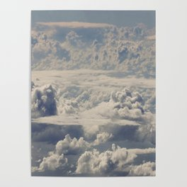 Magical White Cotton Clouds in Mystical Blue Sky Poster