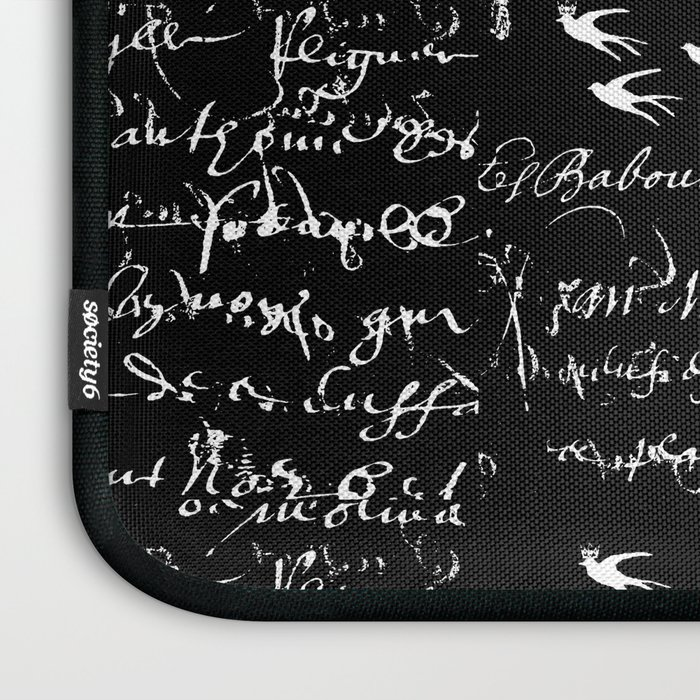 White French Script on Black background with White birds Laptop Sleeve