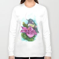 hibiscus Long Sleeve T-shirts featuring Hibiscus by Maria Trillidou