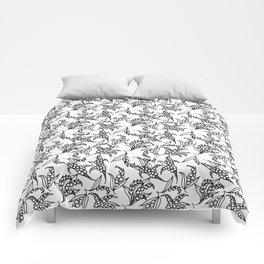 Black on White Vintage Lily-of-the-Valley Pattern Comforters
