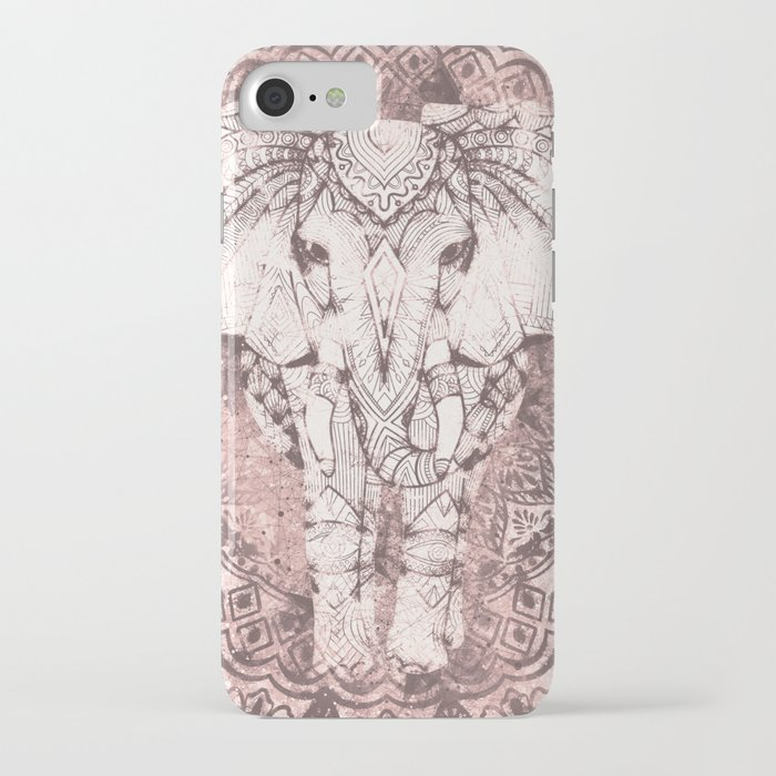 bohemian, elephant, mandala, blush, moon iphone case