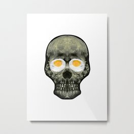 Funny Skull with Fried Egg Eyes Metal Print