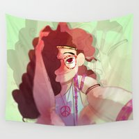 hippy Wall Tapestries featuring Hippy girl by Francesco Malin