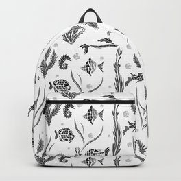 Black and white pattern. Fish . Backpack