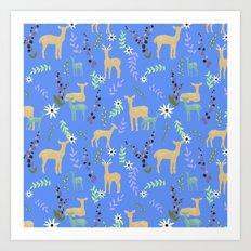 Deer and Flowers Art Print