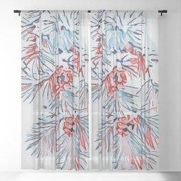 Xmas Digital Illustration Pine Branch with Snow Sheer Curtain