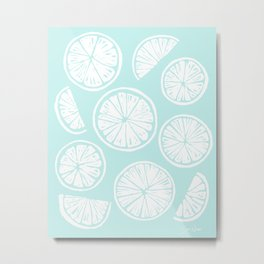 Citrus Wheels - Blue and White Metal Print