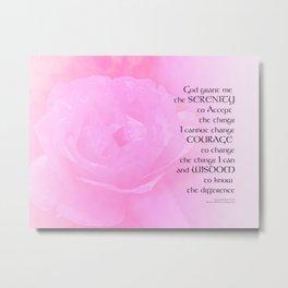 Serenity Prayer Pink Rose Blend Metal Print