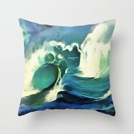 Going With The Flow Crashing Ocean Waves Throw Pillow