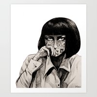 mia wallace Art Prints featuring Mia Wallace by Justine Lecouffe