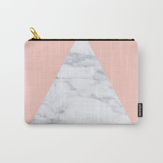 Blush marble triangle Carry-All Pouch
