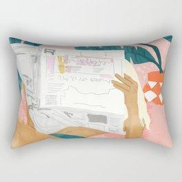Morning News, Modern Bohemian Illustration, Woman Reading Newspaper, Banana Leaves, Tropical Rectangular Pillow