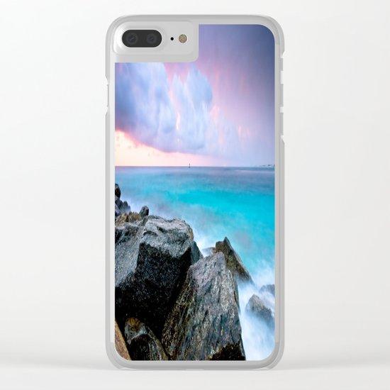 Aqua Water Pastel Pink Sunrise Clear iPhone Case