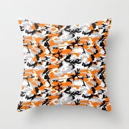 Orange Camouflage Pattern Throw Pillow
