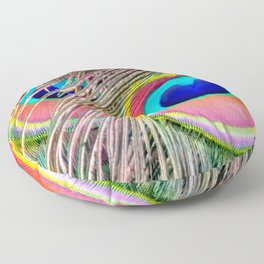 Peacock Tail Feathers Floor Pillow