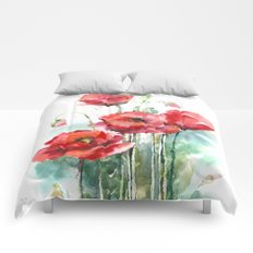 Watercolor red poppies flowers Comforters