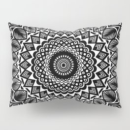 Detailed Black and White Mandala Pillow Sham