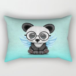 Cute Panda Cub with Fairy Wings and Glasses Blue Rectangular Pillow