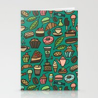 macaroon Stationery Cards featuring Coffee and pastry  by Julia Badeeva