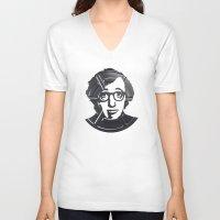 woody allen V-neck T-shirts featuring Woody Allen by Alejandro de Antonio Fernández