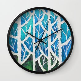 Four Trees In Light Blue Forest Wall Clock