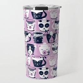 Cuddly Tea Time // white navy & light orchid pink animal mugs Travel Mug