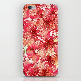 Tropical Foliage # Red iPhone Skin