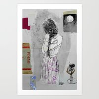 poem Art Prints featuring moon poem by LouiJoverArt