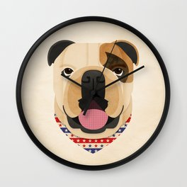 American Bulldog Dog Portrait Wall Clock