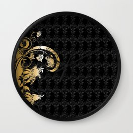 Abstract floral ornament in black and gold colors Wall Clock