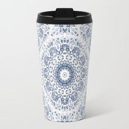 Grayish Blue White Flowers Mandala Travel Mug
