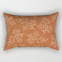 Delicate White Leaves and Branch on a Rust Orange Background Rectangular Pillow