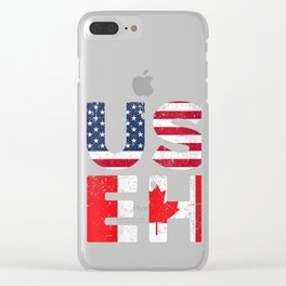 Womens USA Pride US Flag Canada Day USEH Canadian V-Neck T-Shirt Clear iPhone Case