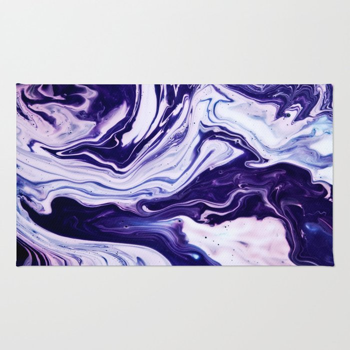 Blue, Pink, White and Purple Marble Rug