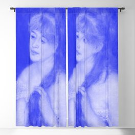 Japanese Porcelain Young Woman Braiding Her Hair Blackout Curtain