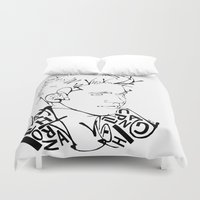 niall horan Duvet Covers featuring Typographic Niall by Ashley R. Guillory