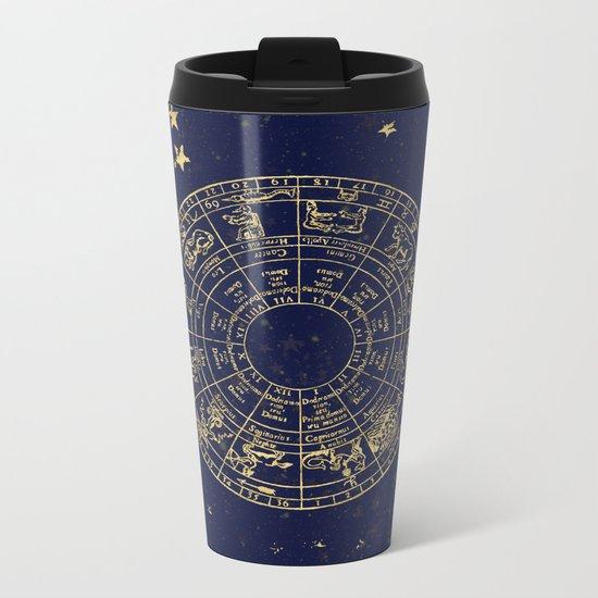 Metallic Gold Vintage Star Map Metal Travel Mug