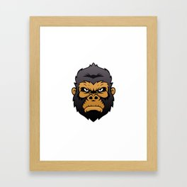 Gorilla Head Cartoon. Framed Art Print
