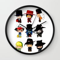 anime Wall Clocks featuring Anime Hatters by artwaste