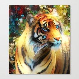 Clover Blossom Tigress Canvas Print