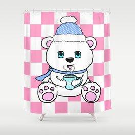 Polar Bear Drinking Hot Chocolate Shower Curtain