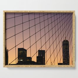 New York City Sunset and Bridge (Color) Serving Tray