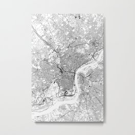 Philadelphia White Map Metal Print