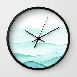 Mint Mountains Wall Clock