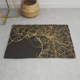 TOKYO JAPAN GOLD ON BLACK CITY MAP Rug
