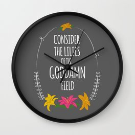 Consider the Lilies Wall Clock