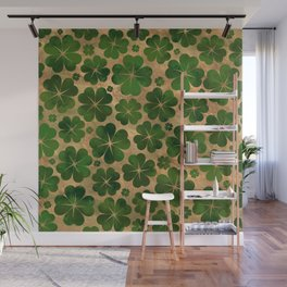Lucky Shamrock Four-leaf Clover Pattern Watercolor Wall Mural