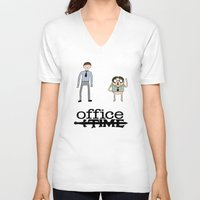 office V-neck T-shirts featuring Office Time by Al's Visions