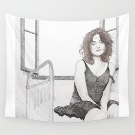 closed eyes - woman dotwork portrait Wall Tapestry
